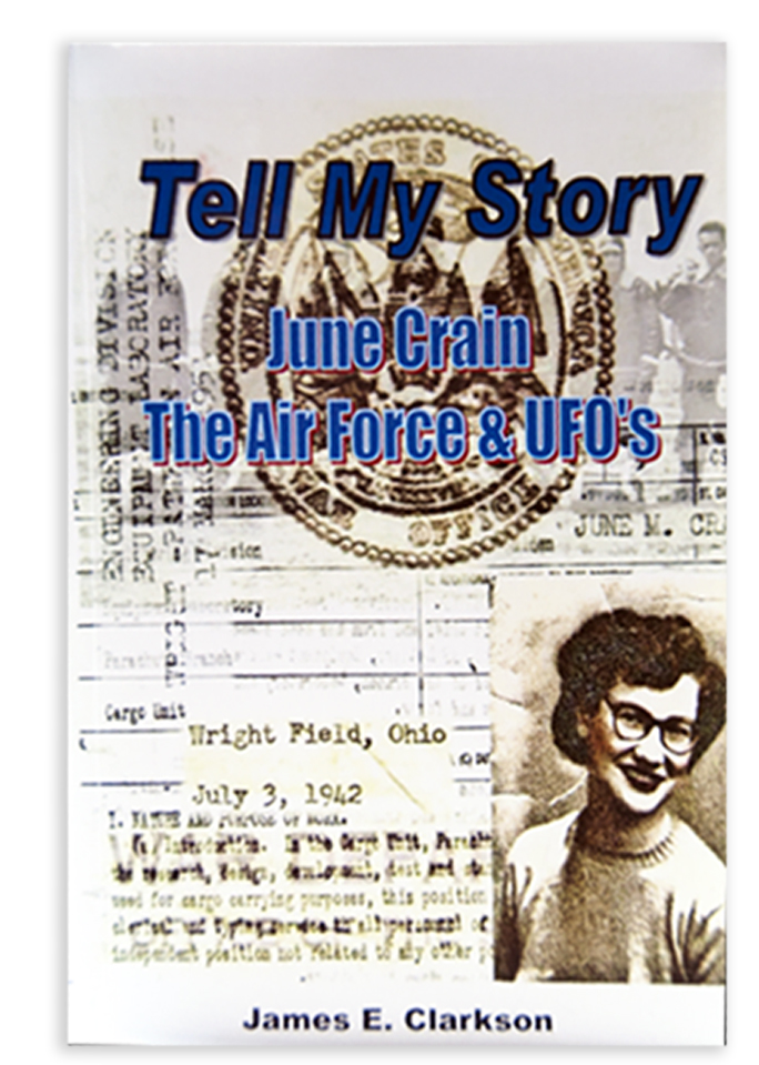 "Front cover of ""Tell My Story"" - A book by James E. Clarkson telling the June Crain story"